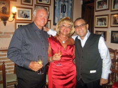 """Big Ron with his wife Maggie in the Bodega at """"La Torre"""" with Cristobal."""