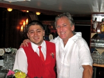 "With barman Bogdan on the ""Rotterdam""."
