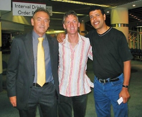 "With Greg James from the ""Hole -in- the -Wall"" pub in Las Americas, and the infamous Chris Kamara fro Sky Sports."